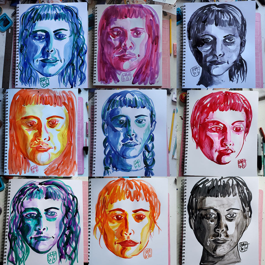 Nine images of the drawings of the artist's face in a paper drawing pad. The drawings are arranged as three in each row for three rows. Each face is drawn in a singular cink olor with ranging hairstyles than includes bangs. Each face is drawn on its own page to reflect the artist's mood for that day. From left to right, row one, image one: blue, hair in waves, lips pursed, eyes looking down; image two: pink, face in a frown, eyes looking to the right; image three: black, eyews looking away in various directions, hair in a short ponytail; row two, image one: red and yellow, hair down, eyes looking away to your right; image two: blue, hair in braids, eyes looking away to the right; image three: pink, hair up, face turned to your right, lips pursed; row three, image one: green, purple, and blue, hair in waves, and eyes looking away to your right; image two: orange and yellow, hair up, eyes looking away; image three: black, hair up, eyes looking straight ahead