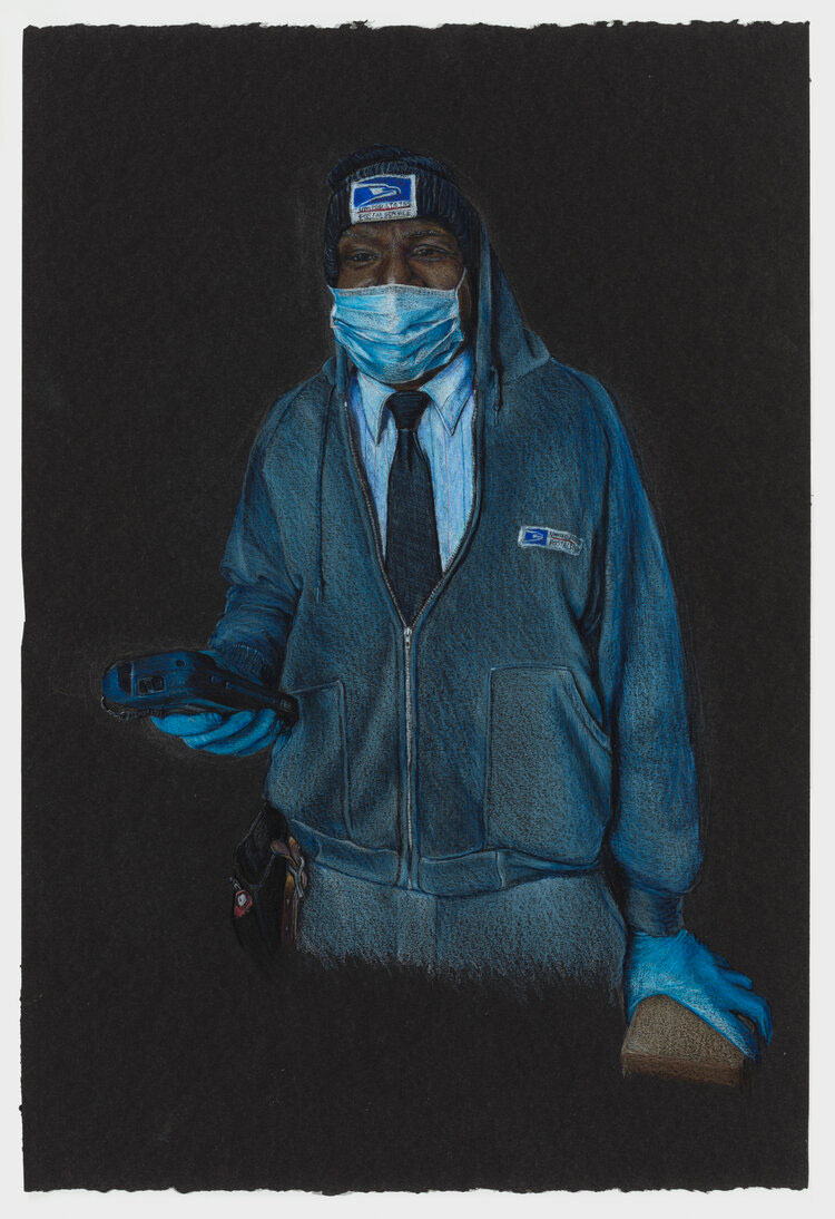 A Black post worker in uniform wears a blue mask and gloves while operating a scanner