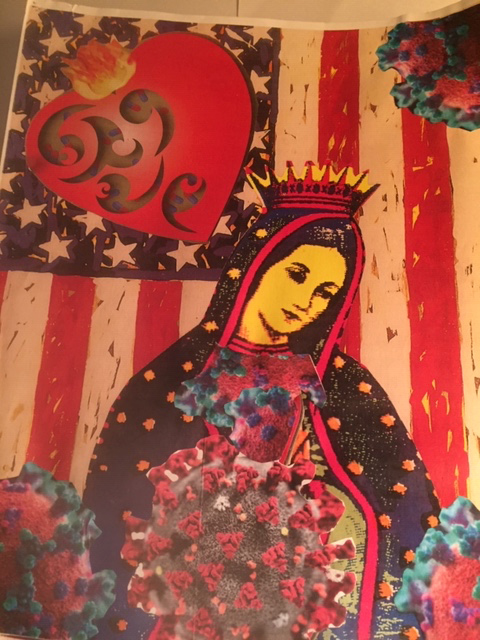 A depiction of Mary before an American Flag; there is a heart shaped object over the stars of the flag; Mary is covered in COVID cells as she looks downward