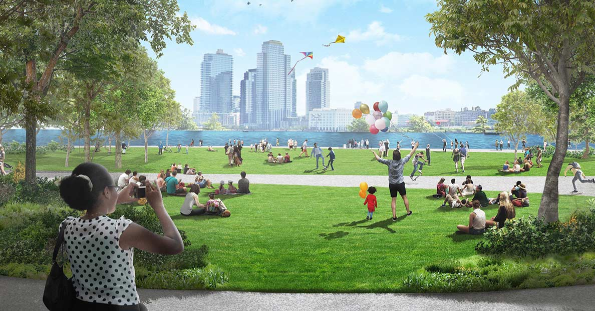 A rendering of the lawn at the rebuilt East River Park
