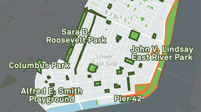 A section of a map of Manhattan's East Side displaying open spaces.