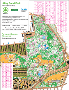 alley pond park orienteering course map with all controls
