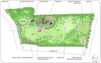 Plan of Elmhurst (Gas Tanks) Park, rendering and plan by Nancy Prince and Helen Ogrinz, 2006-2010, New York City Parks & Recreation