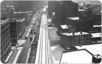 View South From Bell Laboratories (Westbeth) of High Line, February 28, 1935, Alajos Schuszler/New York City Parks Photo Archive