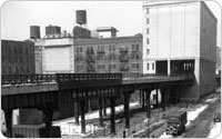 View North of the High Line, from Jane Street and Washington Street, February 28, 1935, Alajos Schuszler/New York City Parks Photo Archive