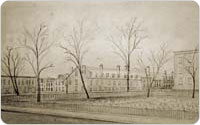 St. John's Burial Ground, Clarkson, Leroy and Hudson Streets, circa 1860s, reproduction of drawing by A. J. Davis, New York Historical Society