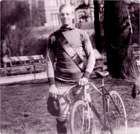 A cyclist in Central, Riverside Parks, circa 1920?