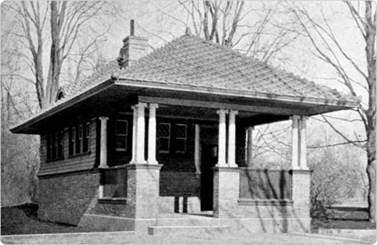 A women's bicycle shelter in Prospect Park, circa 1896. Source: 36th Annual Report of the Department of Parks of the City of Brooklyn.