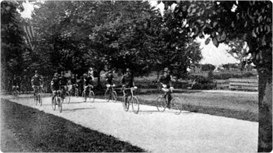 On the bicyce path, circa 1896. Source: 36th Annual Report of the Department of Parks of the City of Brooklyn for the Year 1896.