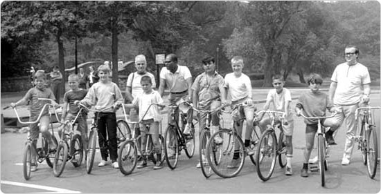Participants in a ?bike hike? at Clove Lakes Park in Staten Island, July 14, 1968.