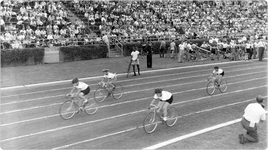 The bicycle racing portion of the Daily Mirror Sports Festival on Randall?s Island, September 9, 1950. Photo by Ben Cohen; courtesy of Parks Photo Archive, neg. 26778.
