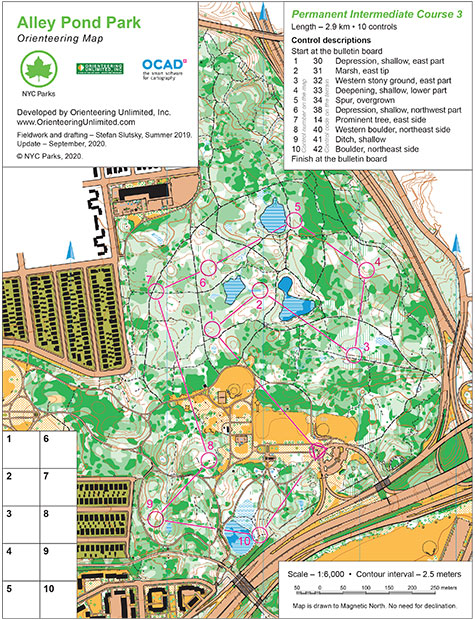 alley pond park orienteering course map intermediate 3