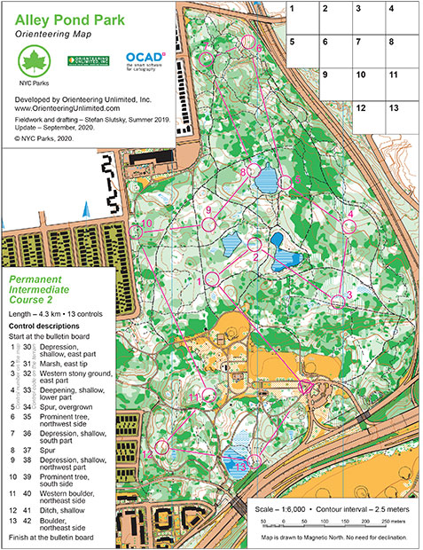 alley pond park orienteering course map intermediate 2