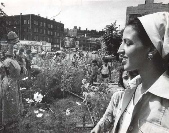 1975 image of Liz Christy in one of her Lower East Side gardens. Courtesy of Donald Loggins