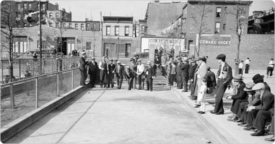 Men playing bocce at J.J. Byrne Park in Brooklyn, May 8, 1935. Courtesy of Parks Photo Archive, Neg. 1400.