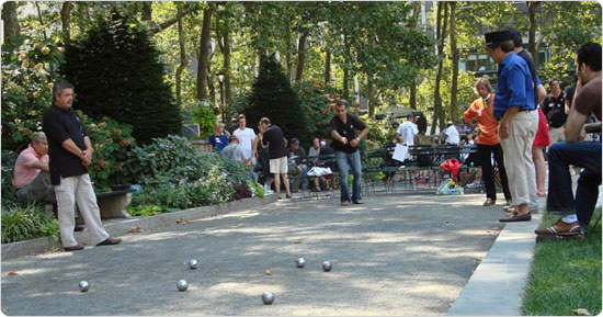 Pétanque tournament in Bryant Park on July 14, 2007.