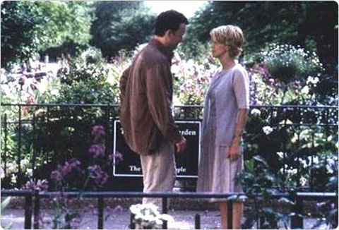 Tom Hanks and Meg Ryan?s characters share an intimate moment at Riverside Park?s 91st Street Community Garden in the 1998 film You?ve Got Mail.