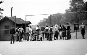 Waiting for a turn at First Tee, Van Cortlandt Park Golf Course, the Bronx, June 7, 1934, Alajos Schuszler/New York City Department of Parks & Recreation Photo Archive