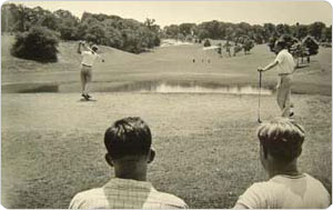 Two players and two spectators at the golf course, Forest Park, Queens, circa 1940, New York City Department of Parks & Recreation Photo Archive