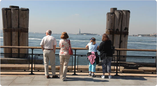 Battery Park remains popular with city residents and visitors, due to its magnificent views of the harbor.