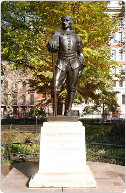 A statue of Peter Stuyvesant reminds visitors to Manhattan?s Stuyvesant Square of the park?s former owners and uses.