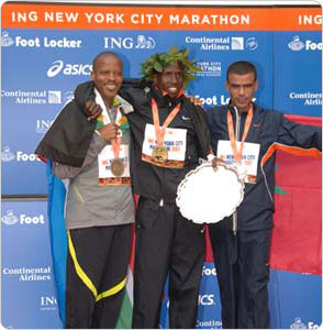 The top male finishers of the 2007 New York City Marathon, November 4, 2007. Photo by Malcolm Pinckney.