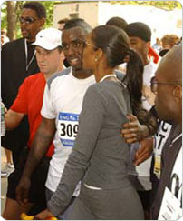 "Sean ""P. Diddy? Combs at the finish of the 2003 New York City Marathon. Photo: Malcolm Pinckney."