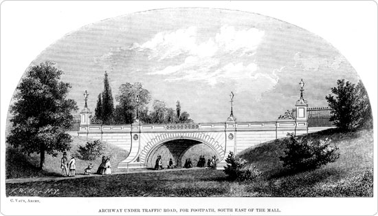 "Image of ?Archway under traffic road, for footpath, south east of the mall."" From an 1859 annual report. An example of the advances Olmsted & Vaux made in balancing pedestrian needs with transit needs."