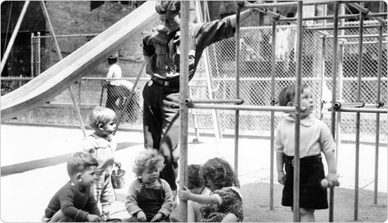 A park supervisor oversees children playing in the Bronx?s Hines formerly St. Augustine Park, circa 1940. Courtesy of Parks Photo Archive; Neg. 17760.