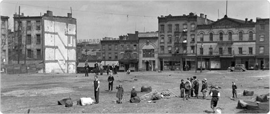 Children playing in a vacant lot at the site of William E. Sheridan Playground, April 21, 1934. Courtesy of Parks Photo Archive; Neg. 0443