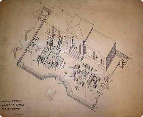 Check a Child Playground, Union Square, Manhattan, 1967. Drawing by Richard Dattner; Collection of the City of New York, Parks & Recreation Map File.