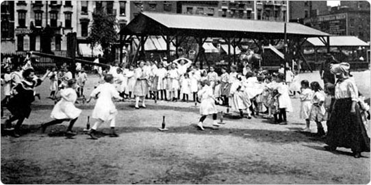 William H. Seward Park Playground?Ten Pin Pursuit Race,? circa 1908. Courtesy of Parks Photo Archive.