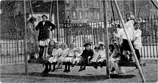 Rock-a-Bye Swing?De Witt Clinton Park Playground, circa 1911. Courtesy of Parks Photo Archive.