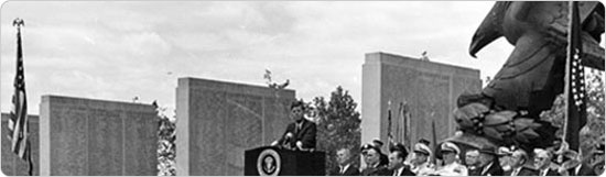 President John F. Kennedy at dedication of East Coast War Memorial