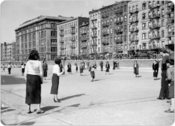 A girls softball team plays at Sara D. Roosevelt Playground, May 1, 1935.