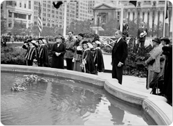 Flowers are cast into the water as Josephine Shaw Lowell Memorial Fountain is rededicated on September 14, 1934.
