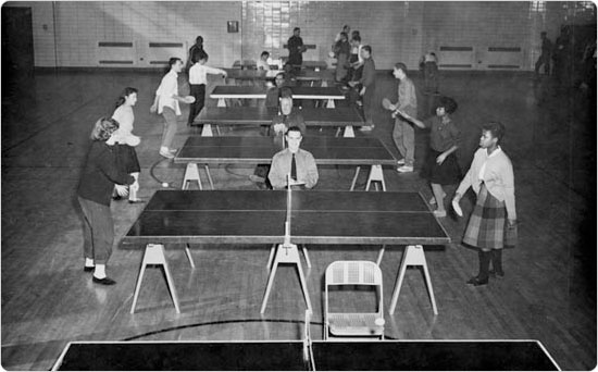 Indoor ping pong at St. John?s Recreation Center in Brooklyn provided wholesome entertainment during cold winter months, January 30, 1960.