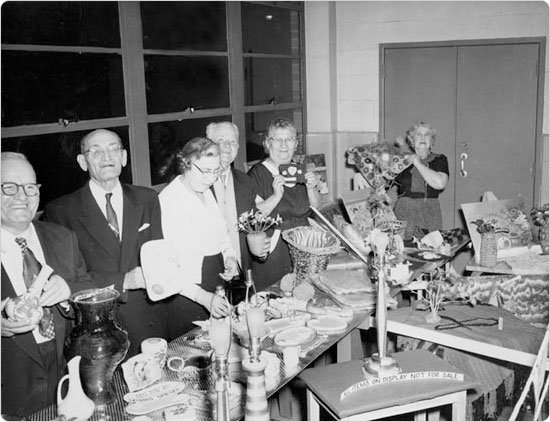 Golden Age participants display works created during arts & crafts at the Brownsville Recreation Center, April 25, 1959. Courtesy of Parks Photo Archive, April 25, 1959.