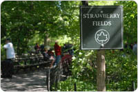 Strawberry Fields sign at entrance to the area