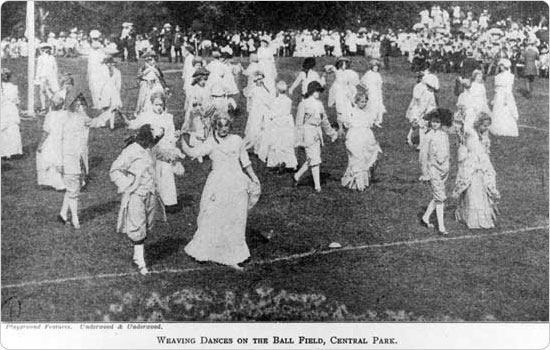 "An early pageant (""weaving dances"") on the Central Park ballfield, circa 1912. Neg. ANR631."