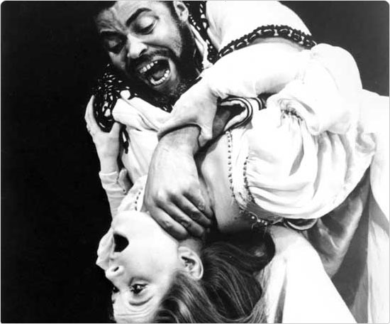 Caption: James Earl Jones as Othello and Julienne Marie as Desdemona, Summer 1964. Courtesy New York Shakespeare Festival.