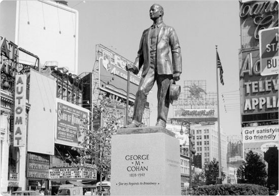 September 22, 1959 shot of the George M. Cohan monument in Father Duffy Square, 11 days after its dedication. Neg. 30641.1.