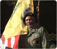 A veteran at the Vietnam Veterans Plaza Rededication, November 9, 2001. Photo by Spencer T. Tucker.