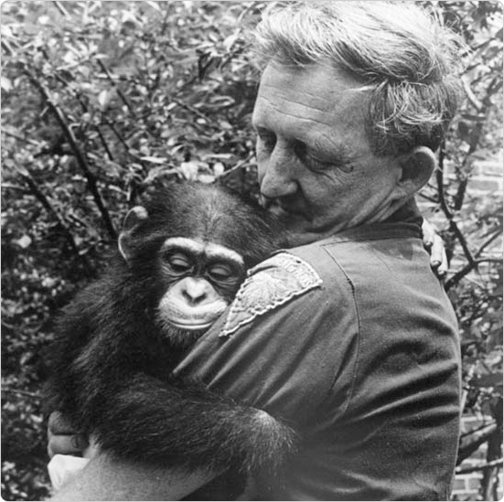 Trainer Dick Bird with Panzi the chimpanzee, September 8, 1972. Courtesy of the Parks Photo Archive.