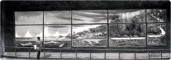 A rendering of the Water Cycle exhibit in the soon-to-come New York Aquarium in its new Coney Island location, published by the New York Zoological Society in 1952.