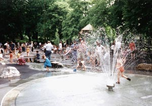 image of kids playing in fountain