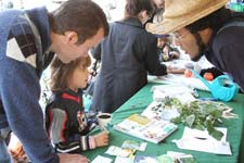 GreenThumb staff teaching a kid about urban gardening at Pumpkin Festival