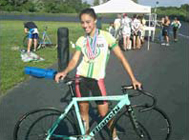 Stephanie Torres posing with her bike