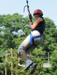 Person in the air on the Adventure Course