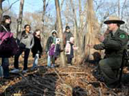 Ranger talking to kids at a Rangers' Wilderness Survival program